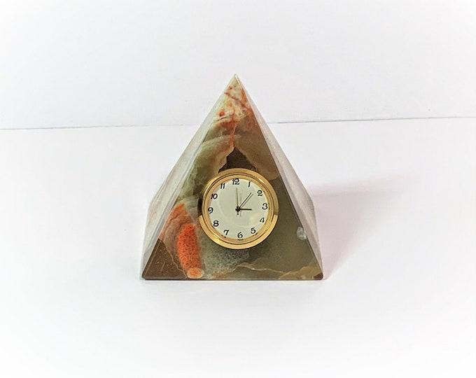 "Onyx Marble Pyramid Clock, Gem Quality Perfect Symmetry Pyramid, Miyota Japan Quartz, 3"" Base & 3.5"" Angles, Works perfect, Free US Shipping"