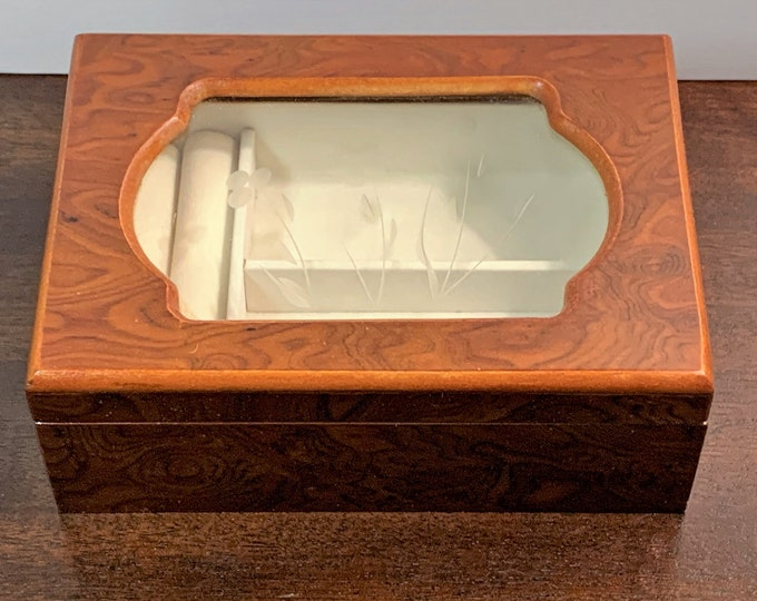 """Varnished Fine Wood Small Jewelry Box, Super Elegant, Etched Glass Window, Contrast Padding, 7"""" Wide. 5"""" Deep. Ideal for Travel, Refinished"""