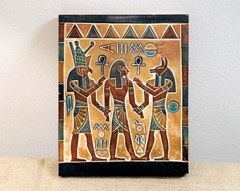 """Vintage Ancient Egyptian Sculptured Wall Plaque, Ramses II between God Horus & God Anubis, Bonded Stone, 7.25 X 6"""". Cairo, Free US Shipping"""