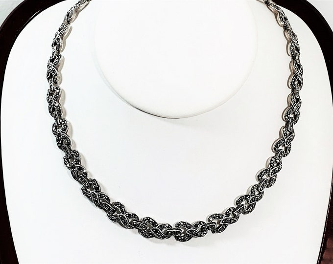 """Vintage Sterling Silver Marcasite Choker Necklace, 16"""" W/2"""" Extension Chain, 44.50 Grams, Box Clasp, 1980's. Refinished. Free US shipping."""