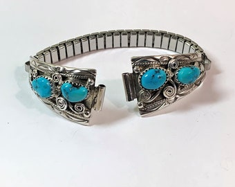 Vintage Sterling Silver and Natural Fine Blue Turquoise Watch Band with Stainless Expansion, 11 mm lugs to  20mm Spread, Hand Crafted.