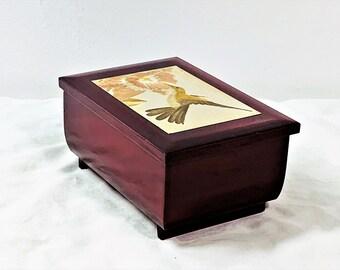"Vintage Sankyo Japan Music Jewelry Box ""Swan Lake"", Engraved Gilded Metal Plate 'Hummingbird', Red Velvet, Mirror. 6"" W. 4"" L. Free Shipping"