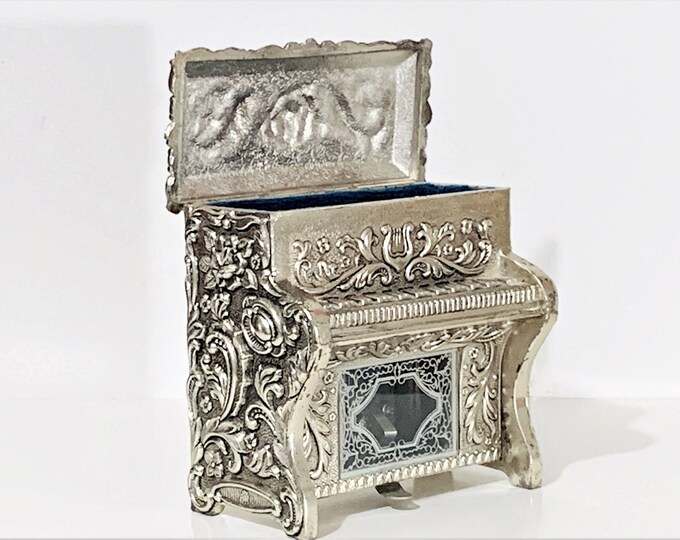 "Antique Silver Clad Sankyo Music Jewelry Box, Piano Shape, 3D Patterns, Ornate Glass Window, Velvet Padded Compartment. Japan. 4"" H. 4"" W."