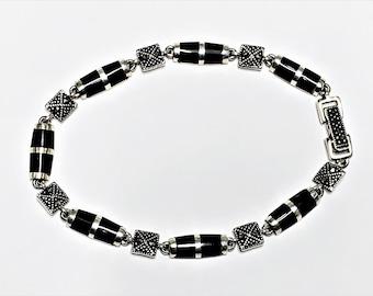 "Vintage Sterling Silver Marcasite Black Onyx Bracelet, Beautiful Delicate Fine Bracelet, Box Clasp, 7"" Long - 1/4"" Wide. Refinished."
