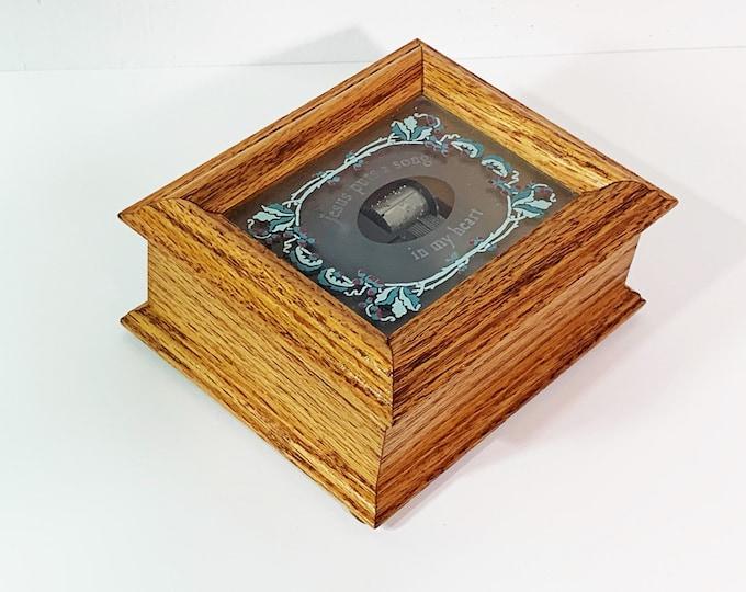 "Vintage WILDWOOD Artisan Grace Music Box. 'How Great Thou Art', Texas USA. Sankyo Music Box. 5"" W. 4"" L. Mint Condition, Free US shipping."