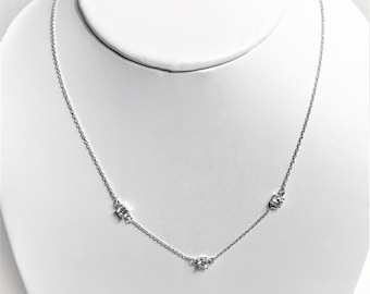 "Sterling Silver Simple 3 Stones Necklace, Fine Rolo Chain, 3 Faceted Brilliant Round CZ, 18""."