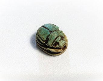 Vintage Ancient Egyptian Faience Ritual Scarab Amulet, Valley of The Kings, Luxor - Upper Egypt, 15 mm, Great Shape & Color