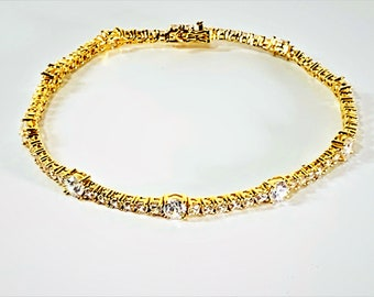 """Sterling Silver 18K Vermeil CZ Tennis Bracket,  5 Microns Gilt, Box Clasp W/Double Safety, 8"""" Long, 10.90 Grams. Free US Shipping."""