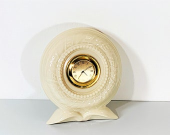 """Lenox Timely Traditions Fine Bone China Round Porcelain Quartz Mantel Clock, Golden Dial, 5"""" T. 4.5"""" W. Mint Condition. Free US Shipping."""