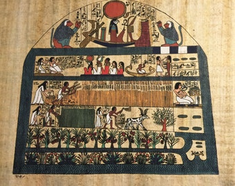 Vintage Egyptian Hand Painted Papyrus, Agriculture and Food in Ancient Egypt, 17.5 X 13 inch, 44 x 33 cm.
