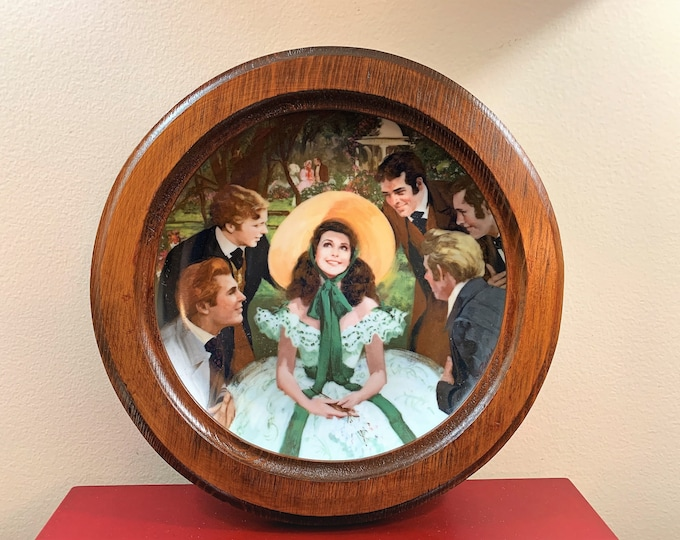 """Collectible """"Scarlett and Her Suitors"""" Special Edition Plate, First Issue in """"Gone with the Wind"""" Golden Anniversary Series, 1988 - Framed"""