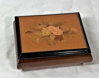 "Collectible Sorrento Italy - Sankyo Music Box, Chocolate Burl-Elm Wood. 'My Sun', 6"" W. 4.75"" L. 2.75"" H, Good Condition, Free US Shipping."