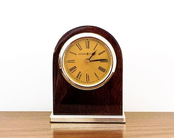 "Howard Miller Mahogany Gloss & Chrome Mantle Quartz Clock, Very Elegant Clock, 5"" T - 4""  W, Works Perfectly. Refurbished. FREE US SHIPPING"