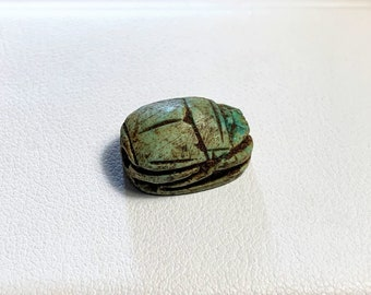 Vintage Ancient Egyptian Faience Ritual Scarab Amulet, Valley of The Kings, Luxor - Upper Egypt, 16 mm, Beautiful Amulet