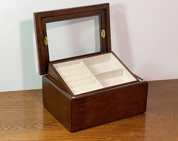 "Natural Walnut Carved Jewelry Box, Glass Window, Removable Tray, Padded Rings Section, 8"" W. 6"" L. 4"" H. Restored. Free US Shipping. Nice"