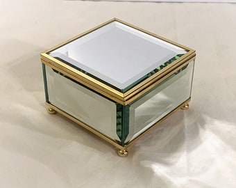 """Sankyo Music Jewelry Box, Mirror Top & All Sides, Plays""""Love Story"""", Brass Frame and Feet, beige Velveteen Padding,  4"""" Square"""