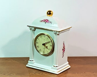 "Paul Sebastian Porcelain Floral Quartz Mantle Clock. 22K Gold Accents, 1993 Limited Edition, 9"" T. 5.5"" W. Great Condition. Free US Shipping"