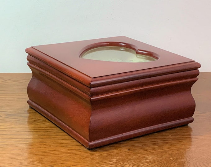 """Croft & Barrow Carved Wood Jewelry Box, Heart Shape Window W/ Etched Rose, Padded Sections for Rings - Earrings Etc., 6.5"""" Sq - 3.5"""" H, Mint"""