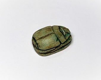 Vintage Ancient Egyptian Faience Ritual Scarab Amulet, Valley Of The Kings, West Thebes - Luxor, Upper Egypt, 21 mm.