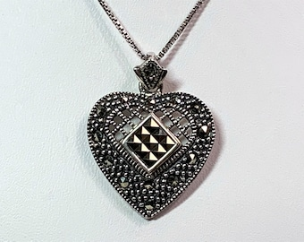 """Vintage Sterling Silver & Marcasite Heart Necklace, 18"""" Box Chain, Heart is 27 X 22 mm, Free US Shipping. Stunning"""
