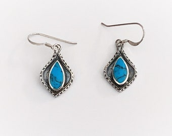 """Vintage Sterling Silver Turquoise Dangle Earring, Southwestern Style, French Ear Wire, 1 1/4"""" Long, 5/8"""" Wide. Refinished."""