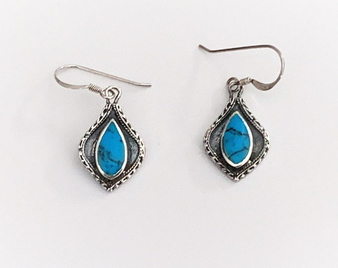 "Vintage Sterling Silver Turquoise Dangle Earring, Southwestern Style, French Ear Wire, 1 1/4"" Long, 5/8"" Wide. Refinished."