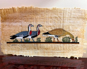 Vintage Hand Painted Egyptian Papyrus, The Famous Meidum Geese, 15 X 8 inch.  37 x 20 cm.