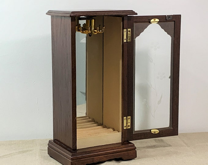 """Vintage Solid Wood Jewelry Cabinet Box Stand, Swirly Hangers, Padded Rings Section, Etched Glass Door, 12 1/2"""" T. 6.25"""" W, Free US Shipping."""