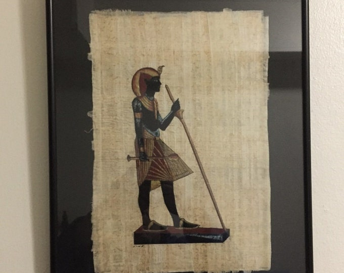 Vintage Hand Painted Egyptian Papyrus, The Wood and Gold Life Size Statue of King Tut, Framed 17 X 13 inch, 42 x 33 cm