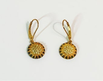 """Sterling Silver 18K Gold Clad Pave Faceted CZ Dangle Earrings, Blacked Edges,   Lever Backs, 1"""" Drop, 1/2"""" Domed Circle. Luxurious."""