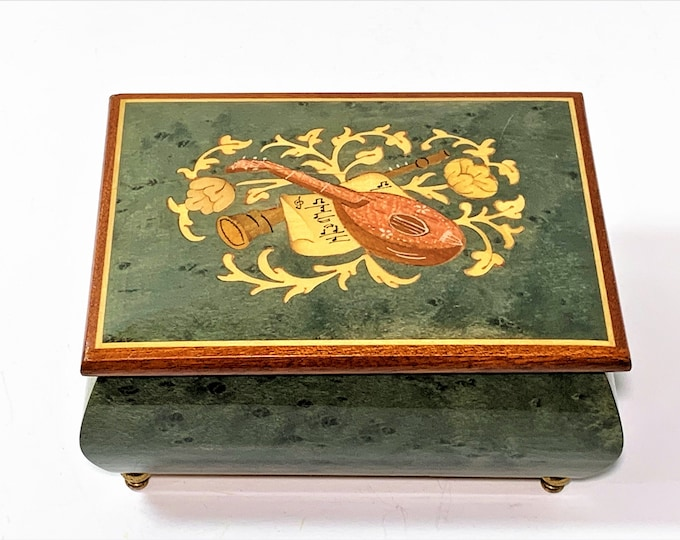 "Sorrento Italy Collectible Music Box "" Torna a Surriento"", Fuji Japan, Burled Green Wood, Musical Instrument Inlay. 6"" W. 4"" L. Top Grade"