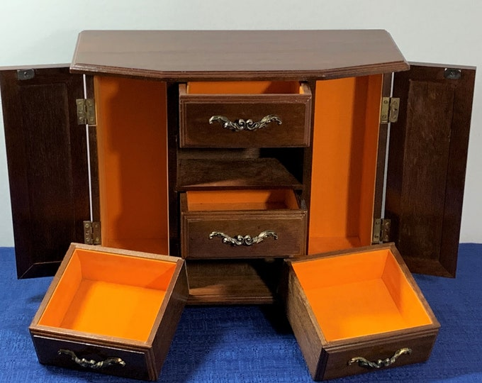 "Vintage Solid Hard Wood Jewelry Chest Cabinet Box Storage, 2 Side Sections W/Hangers & Doors, 4 Deep Padded Drawers, 13"" W. 11"" H, Restored."