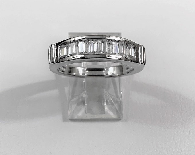 Five Stones Anniversary - Wedding Band, Sterling Silver with Rhodium, Octagon Brilliant CZ, 1.50 carats Total Weight, Size 7. Beautiful