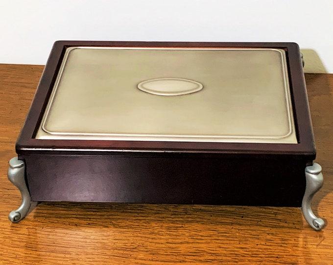 "Vintage Luxurious Men's Valet, Watches, Trinket Box, Mahogany Wood, Black Velvet, Metal Top, Ornate Metal Feet, 6 Sections. 11"" W. 8"" L."