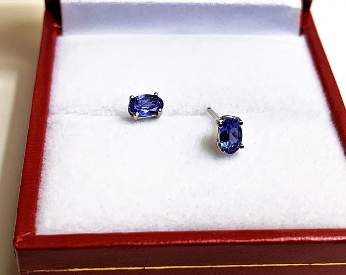 14K White Gold Natural Tanzanite Studs, Intense Natural Violet color, Blue Hue, Oval Cut 5 x 3 mm, .50 carats TW.