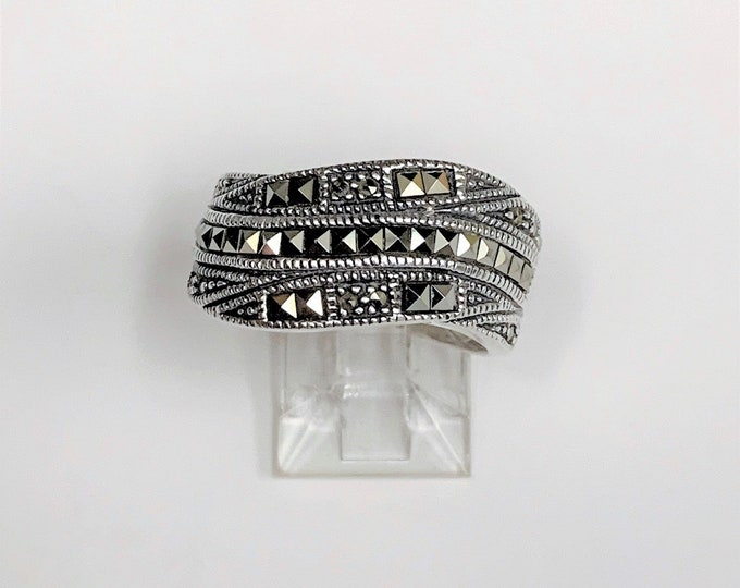 Vintage Sterling and Marcasite Wide Ring, Swirl Design, 11 mm Wide Top, Size 8, Nice