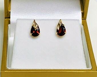 10K Yellow Gold Rhodolite Garnet Stud Earrings, Teardrop Garnets 7 X 5 mm, Ornate Hand Made Setting. Made in USA, Free US Shipping.
