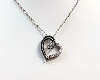 """Sterling Silver Heart Necklace, Black and White Stones, 20"""" Rolo Chain, Rhodium"""