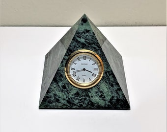 """Green Marble Pyramid, Leeman Designs Clock, Perfect Symmetry Pyramid, 3.25"""" Base and 3.5"""" Angles, Excellent Condition, Taiwan"""