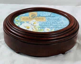 "Sankyo Music Jewelry Memory Mahogany Wood Padded Box, Hinged Lid - Photo Frame, Oval Shape 8"" W. 6"" D, Plays 'Ave Maria', Free US Shipping."