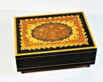 """Collectible Reuge Swiss Music Box """"More"""" Theme from Mondo Cane, Fine Woods Inlaid Classic Mediterranean Art, Crafted in Italy, 5.65"""" X 4.5"""""""