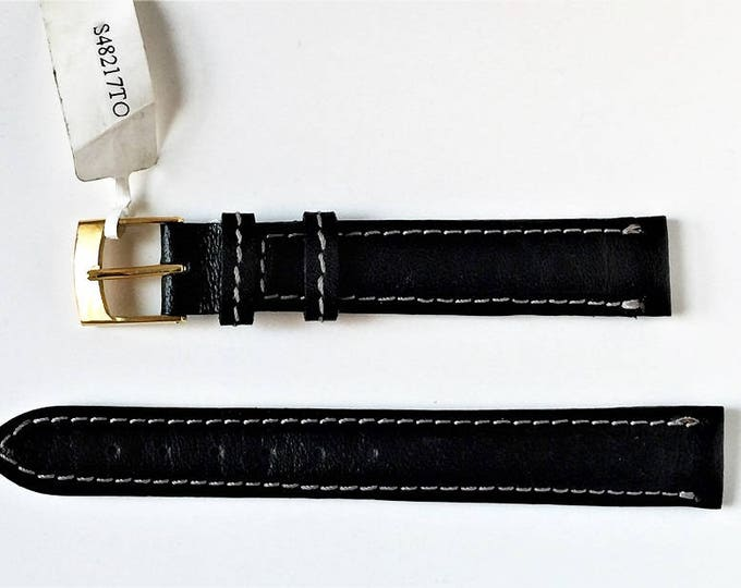 Vintage Tourbillon Genuine Leather Watch Band, 16 mm Lugs, Padded Stitched Water Resistant, Heavy Duty Thick Band, Black