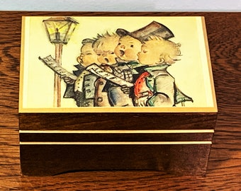 "Vintage Reuge Swiss Music Box, Hummel Choir Kids,""I'd Like To Teach The World To Sing"" Handmade in Switzerland, 4.25 X 3"". Mint Condition."