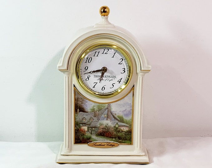 "Thomas Kinkade Painter of Light™ Porcelain Clock, Sweetheart Cottage Scene, 9.5"" T. 5.5"" W. Signed, Gold Accents. Restored to Mint Condition"