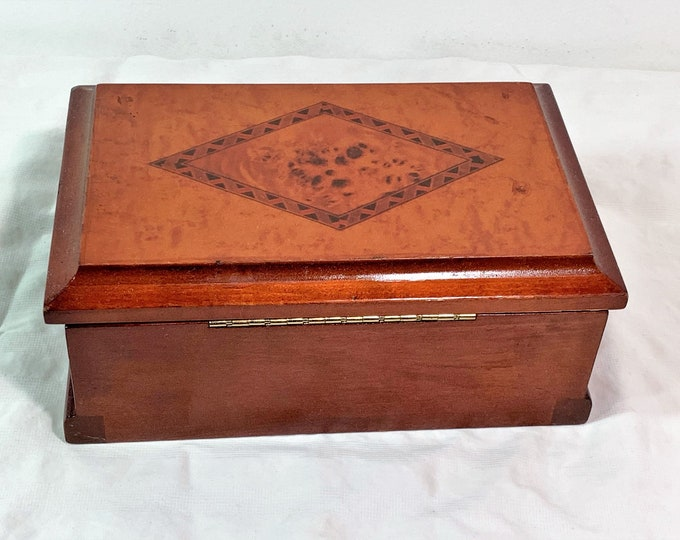 """Croft & Barrow Hardwood and Burl Wood Top Jewelry Box, Padded Removable Tray, Mirror, 8.5"""" W. 5.5"""" L, Restored. Free US Shipping."""