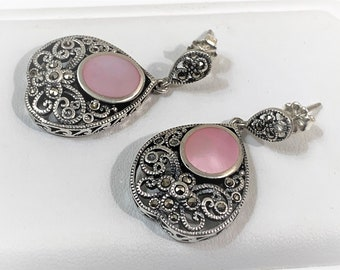 """Vintage Sterling Silver Marcasite and Pink Mother Of Pearl Dangle Earrings, Beautiful Scrolls On Front and Sides, 1 1/2"""" Long, 3/4"""" wide"""