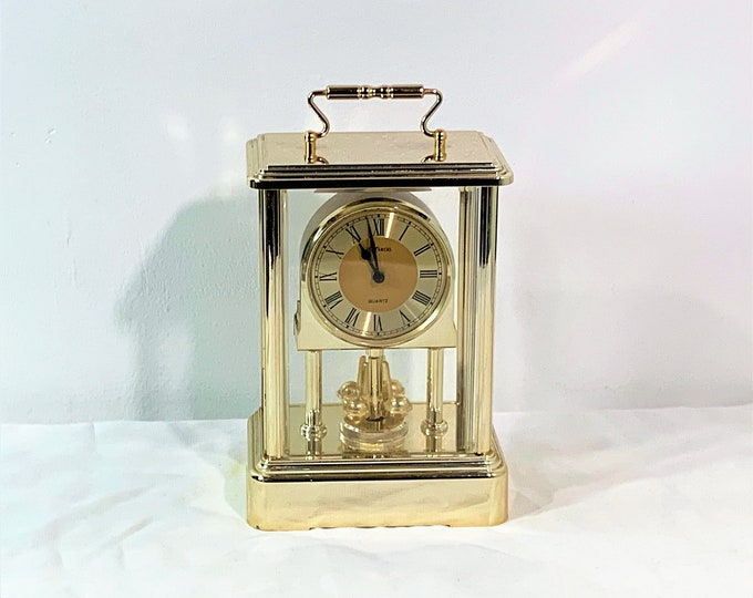 """Marcel Japan Carriage Revolving Pendulum Clock, Brass & Brass Finish, 7.5"""" T. 4"""" W. Works Perfectly. Free US Shipping. Restored Clock."""