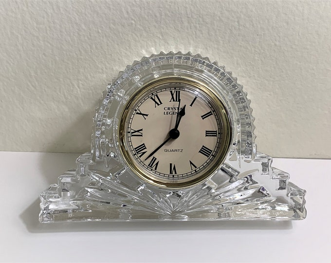 "Crystal Legends 24% Full Lead Crystal Mantle Clock, Beautifully Cut Deep Crystal Block, 6"" W- 4"" T- 1 1/4"" D, Mint Condition."