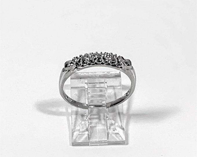 14K White Gold SEBEL Diamond Band, 3 Small Round Full Cut Diamonds T.W .05 Ct. 2.5 mm W, Size 7 US. Hallmarked. Refinished. Free US Shipping