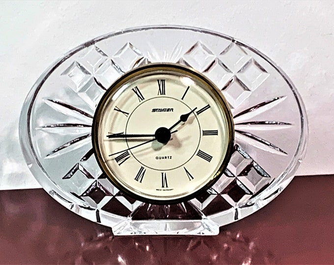 """Vintage Rare Staiger West Germany in France 24% Fine Lead Crystal Clock, Circa 1979. 6"""" W. 4.5"""" T. Mint Condition, Free US Shipping. Tested."""
